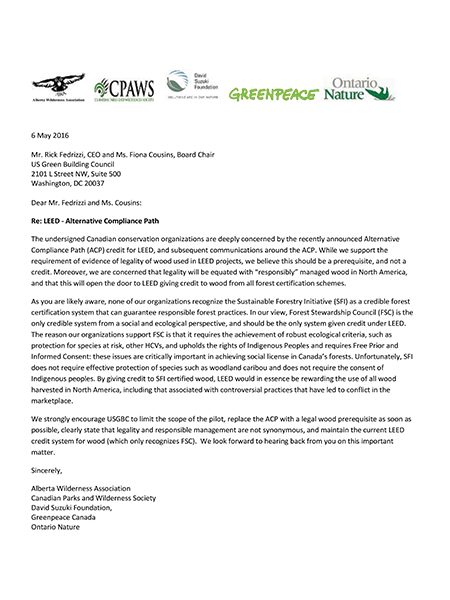 Front page of USGBC Sign On Letter