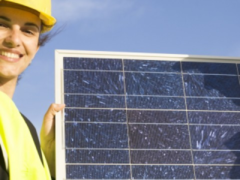 Picture of solar panel installer