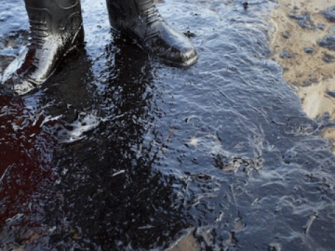 Someone in boots stands next to an oil spill