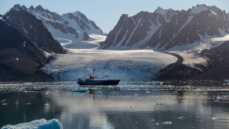 Shipping container in Arctic waters