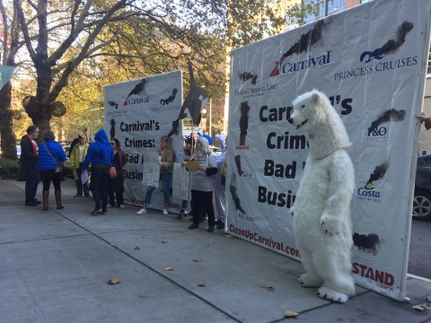Activists protest Carnival pollution in downtown Seattle