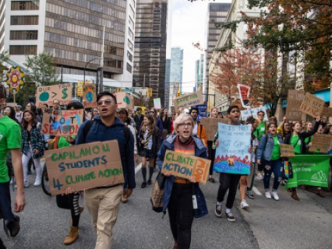 Protestors during the youth climate strike in Vancouver