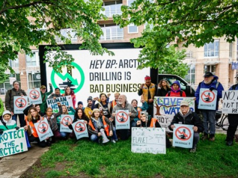 Activists rally outside the BP HQ in Denver.