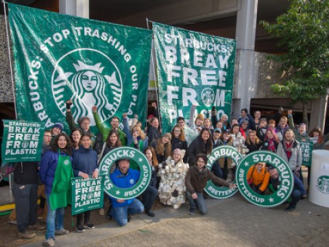 Starbucks activists cheering
