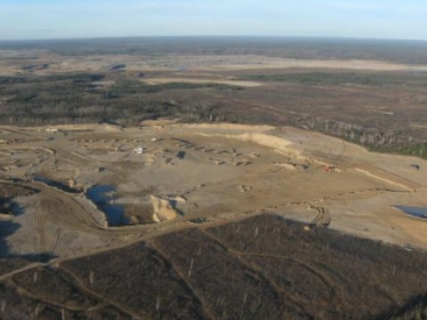 Clear cut land for tar sands mining