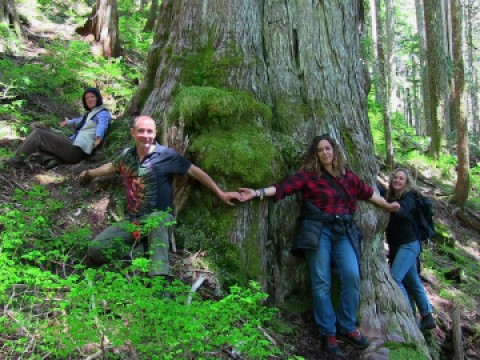Tzeporah Berman of Stand.earth (second from right) stands with other forest protectors around one of the old-growth trees in the Fairy Creek headwaters on Friday, May 21, 2021.