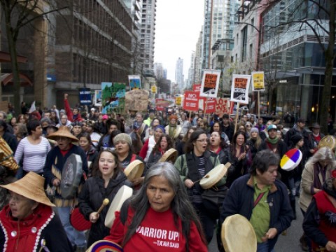 Protestors march against the Trans Mountain pipeline
