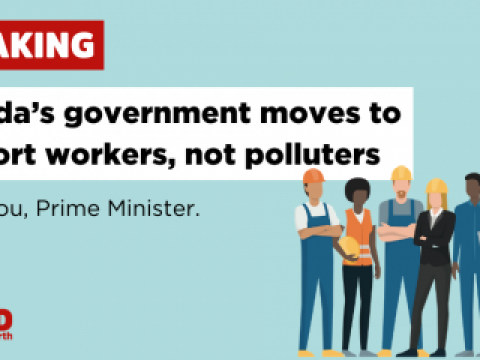 Infographic stating Canada's government moves to support workers, not polluters, and thanking prime minister trudeau. Images of diverse construction workers