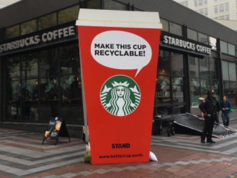 Protesting Citizens Deliver Giant Holiday Cup To Starbucks in Seattle