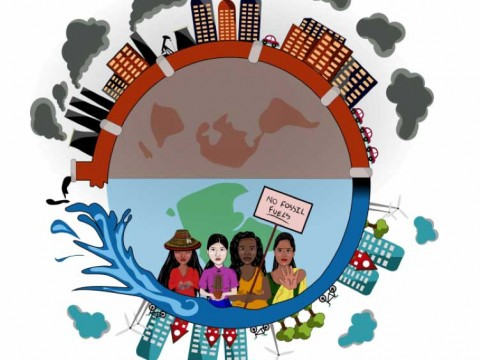 Stopping the Cycle by Karissa Chandrakate, a graphic which shows people taking action to move their communities and the world off fossil fuels.