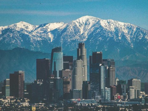The LA City skyline with mountain in the back