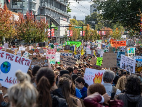 Protesters march for the youth-organized climate strike in September 2019 in Vancouver